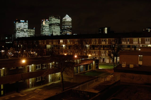 A photograph taken at night from one of the flats in Balfron Tower