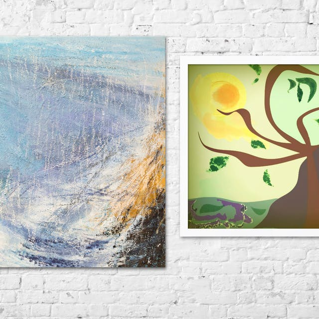 Photograph of a whitewashed brick wall where the paint is flaking in places. Hung on the wall are two artworks. The artwork on the left is a large square oil painting on canvas, depicting an abstract landscape made up of textured brush strokes in blue, yellow and purple hues. The artwork on the right is framed in a simple white frame and depicts a digital artwork of a tree with swirling branches, green leaves dotted between the branches seemingly in mid air. The sky is a light green hue and a golden yellow sun radiates in the top right corner. At the base of the artwork is a line of distant green hills.