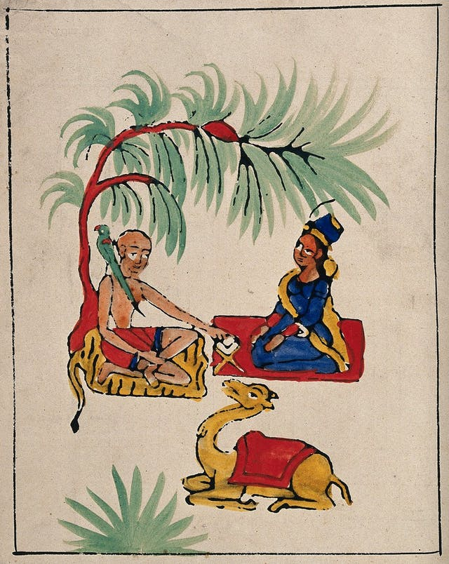Painting of bald man, woman and camel under a tree