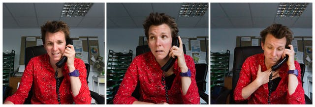 Photographic triptych showing the same woman in each image, sat in an office environment. In the left hand image the woman holds a landline telephone receiver to her left ear, she is smiling slightly. In the middle image she holds the receiver to her left ear and her head is tilted to the left and she is looking out to camera left. In the right hand image she holds the receiver to her left ear, her light hand is clasped to her chest and she is looking down onto the desk.