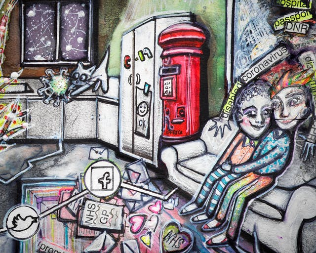 Artwork using watercolour and ink incorporating collaged words throughout the scene. The artwork shows a busy multi-coloured room separated by jagged white lines drawn across the floor incorporating social media icons in circles. On the right hand side of the image there is a red post box, and beside it a couple sit on a sofa cuddling with mail and love hearts around their feet. On the wall a picture frame has the words 'DNR', 'hospital' and 'passport'. Two arms with the words 'corona virus' on them, reach out from the picture frame attempting to embrace the couple.