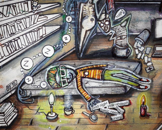 Artwork using watercolour and ink incorporating collaged words throughout the scene. The artwork shows a busy household room. In the foreground, a man is sleeping on a mattress on the floor fully clothed.  Around him are the words and phrases 'good night', 'year of death', 'Brexit', and 'basic needs', as well as many books and a few candles. Besides him are three ghoulish creatures, one with a speech bubble with the word 'hugs' followed by an exclamation mark.