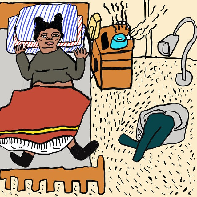 Webcomic showing a person lying in a brown coloured bed within a bedroom with cream walls and flooring. The individual is half covered with a red blanket, wearing a grey coloured top and black socks, and is lying on three striped pillows.