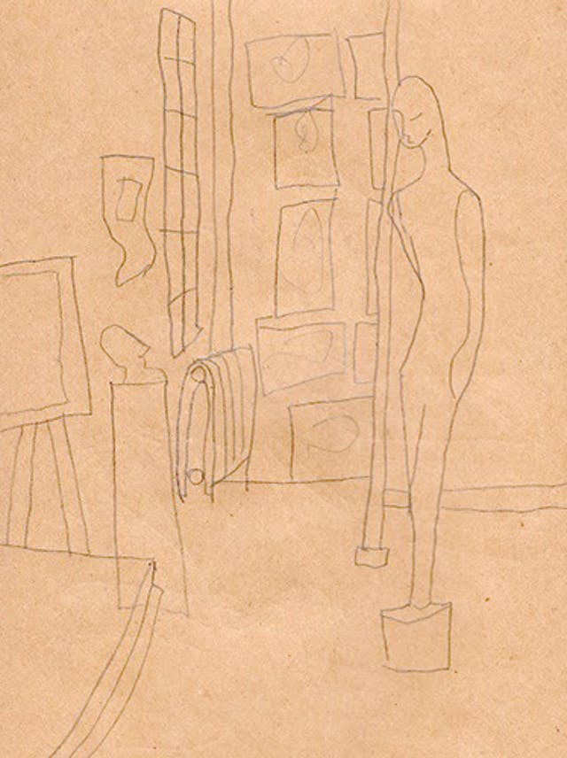 Pencil sketch by Beth Hopkins of sculptures and paintings in a display.