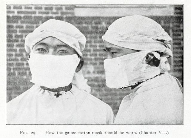 Photograph depicting how the gauze-cotton mask should be worn