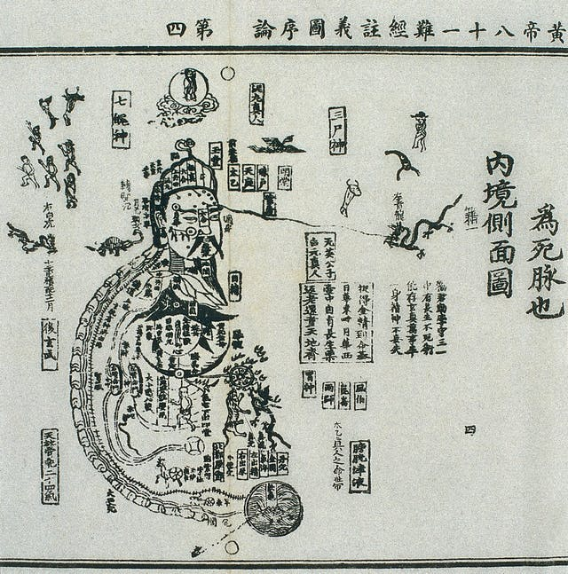 Fifteenth century Chinese woodblock illustration from the Daoist Canon (Daozang), showing the internal topography or inscape (neijing) of the human body according to Daoist teachings. Extracts from Daoist texts are incorporated into the design. Around the human figure are depictions of the Blue/Green Dragon (qing long), White Tiger (bai hu) and Red Sparrow (zhu que) and of Xuan Wu, God of the Northern Sky.