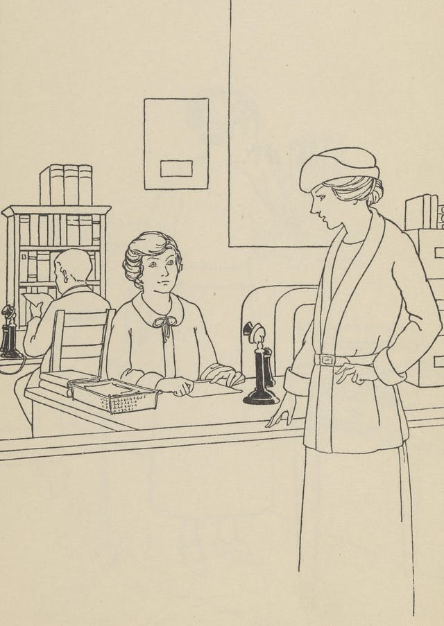 Black and white line drawing showing one woman standing and another sitting. The woman sitting is behind a desk.