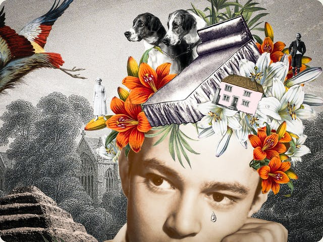 Artwork using collage.  The collaged elements are made up archive material which includes, vintage photographs, etchings, painted illustrations, lithographic prints and line drawings. This artwork depicts a man on the right hand side with his head resting on his hand. Forming a headdress on his head are pictures of a bed, two dogs, a house, flowers and an elderly man and woman.