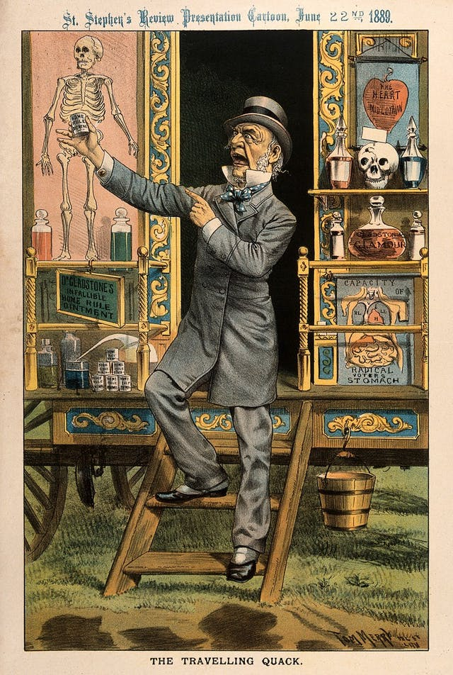 Image of coloured drawing for a satirical poster. A man in Victorian dress points with one hand to a pot of medicine in the other. Behind him is eccentric looking medical equipment.