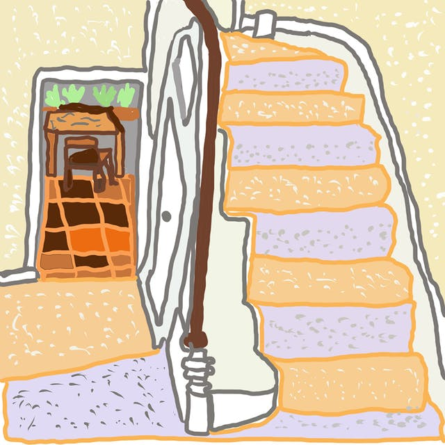 Webcomic displaying an indoor staircase with orange and purple carpet, a brown banister and cream walls. Behind the staircase shows a doorframe opening to a room with brown and orange tiled flooring, with a brown table and chair.