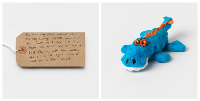 Photographic diptych showing a handwritten brown card label on the left and a soft toy crocodile on the right.