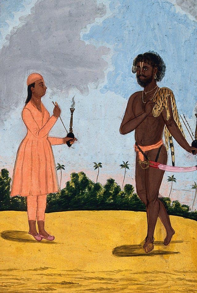 An Hindu ascetic from the Vaishnav tradition (right)