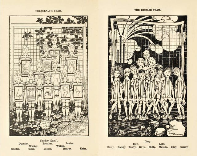 "Printed black and white drawings of two football teams comprised of children. On the left are ""The Health Team"" featuring Thinker (Capt.), Digester, Breather, Beater, Worker, Walker, Smeller, Feeler, Looker, Hearer and Eater. On the right are ""The Disease Team"" featuring Disey, Iggy, Lazy, Dusty, Dampy, Stuffy, Dirty, Chilly, Mouldy, Bitey and Germy."