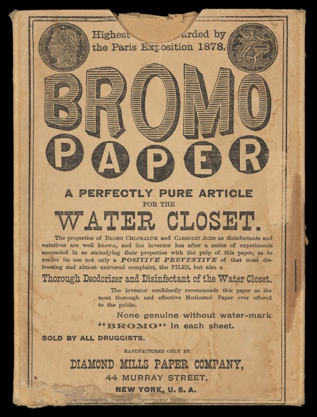 "Photograph of a toilet paper sales box bearing the title, ""Bromo Paper, a perfectly pure article for the water closet""."