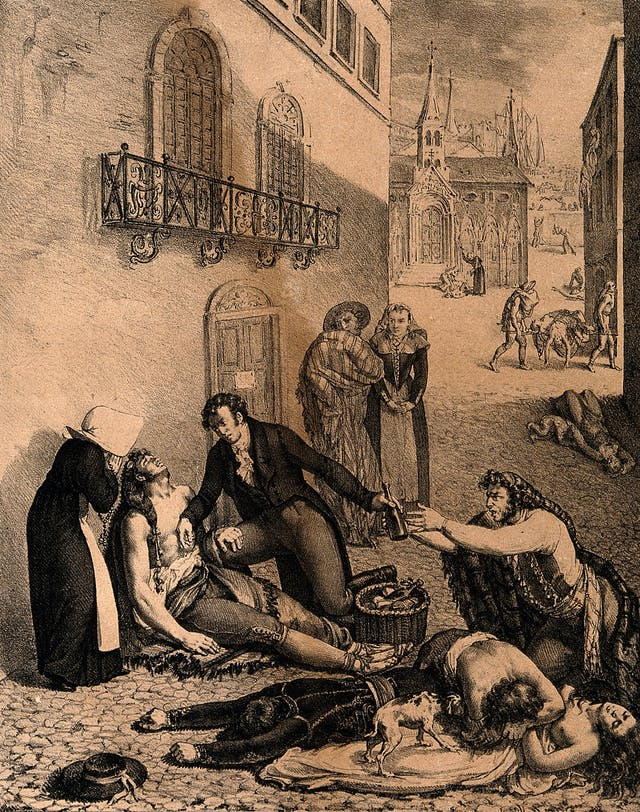 V0010539 André Mazet tending people suffering from yellow fever in the streets of Barcelona