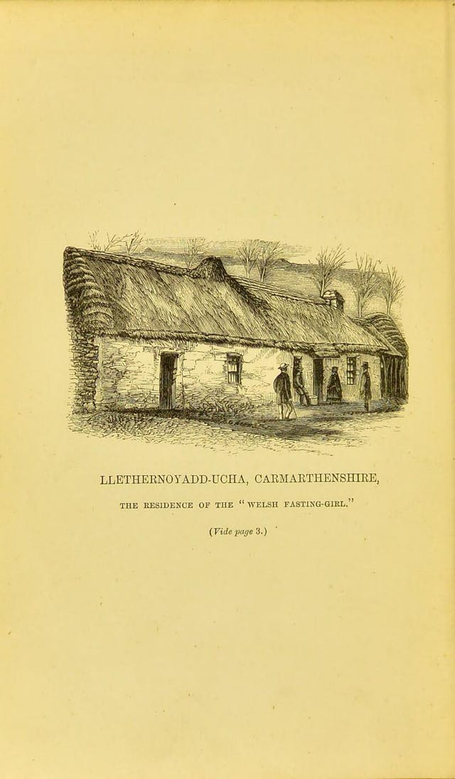 Black and white book illustration of a small, thatched cottage.