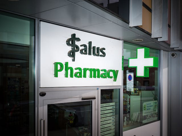 Shop front for the Salus pharmacy, London