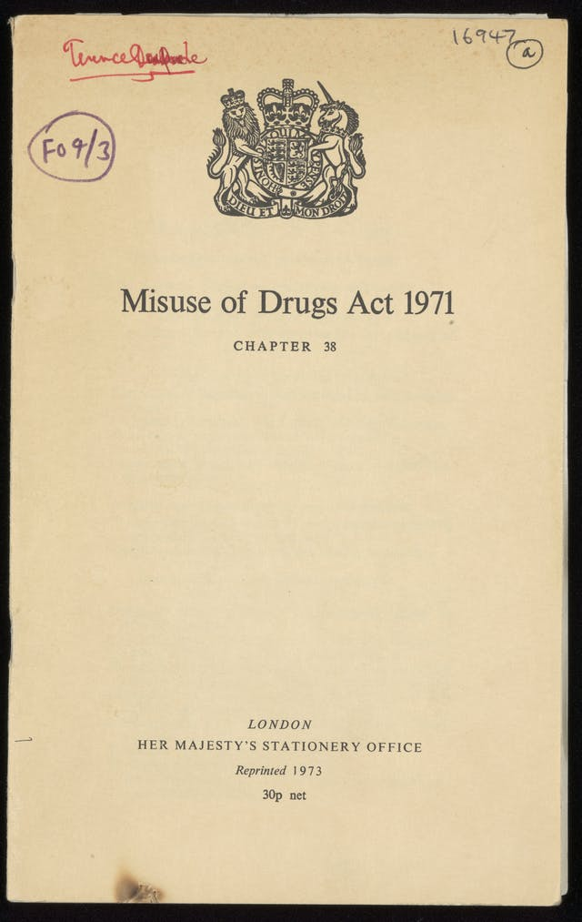 Front cover of the Misuse of Drugs Act 1971