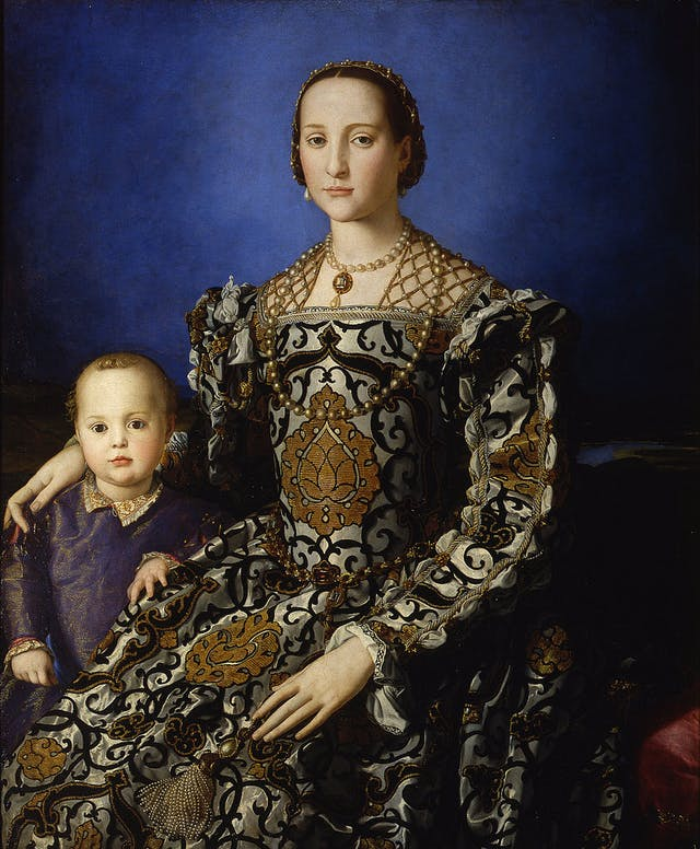 Painting of seated 16th century European noblewoman in fine dress and jewellery with and a child aged approximately 3 years old.