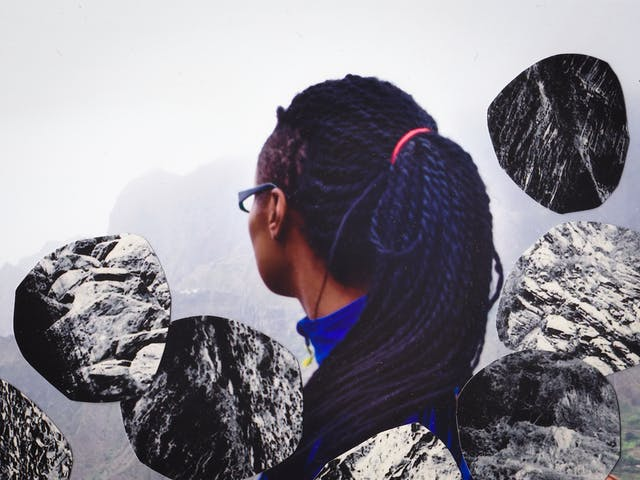 Detail from a larger mixed media collage artwork using a combination of two different photographic prints. The background of the collage is made up of a colour photograph of the back of the head and side profile of a young woman with long black hair, wearing glasses and a blue top. She is looking off away from the camera to the left, into the distance. Behind her is a misty view of a mountain range and green valley. Overlaid on top of this scene are cut out, irregular circular elements each of which is made up of a black and white image of rock formations. The circular pieces are placed like boulders cascading downwards.