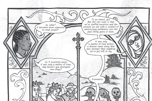 The greyscale graphic novel continues. The tenth and eleventh image are one large illustration  split across two images. The whole combined image shows a tall stained glass window similar to one you