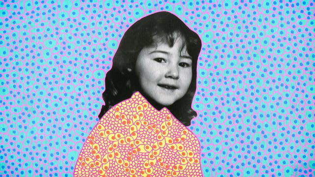 Artwork created by painting over the surface of a black and white photographic print with colourful paint. The artwork shows the original head of a young girl from the photograph beneath. The girl is pictured from the chest up and is smiling to the camera. Apart from her head and face, the rest of the image is a painted cyan background covered in small blue dots and purple lines forming cell like structures around the blue dots. The girl
