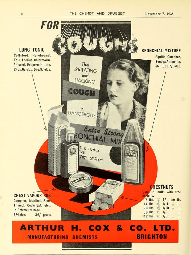 Advert for Arthur H. Cox & Co. products 1936