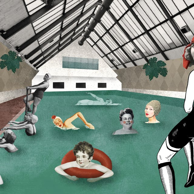 Collage illustration showing the Peckham Health centre. People standing and sitting on the site of the indoor pool and swimming in it.