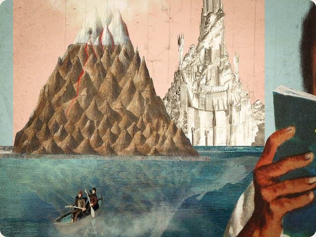 Detail from a larger mixed media digital artwork combining found imagery from vintage magazines and books with painted and textured elements. The overall hues are pastel blues, pinks and greys with elements of harsh reds and greens. The artwork shows a seascape with 2 large mountains on the horizon, one is a representation of the eye of Sauron from Lord of the Rings. In the ocean below is a small row boat containing two characters holding paddles. These characters resemble Frodo and Sam, also from Lord of the Rings.