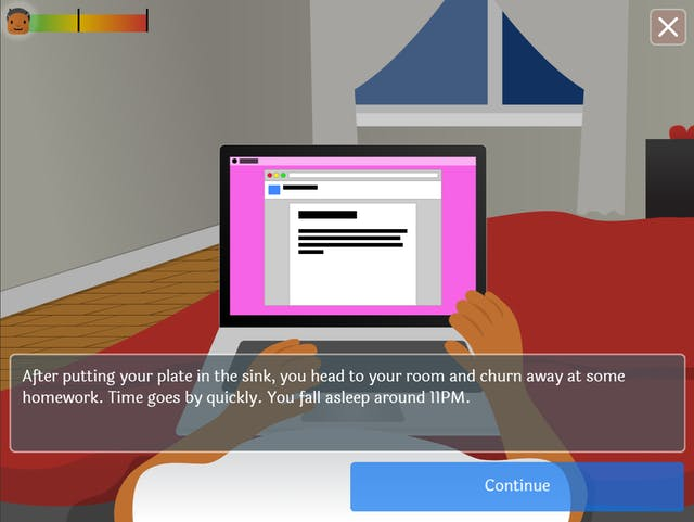 A screenshot of a video game, showing the torso and arms of a young woman lying down, looking at her laptop.