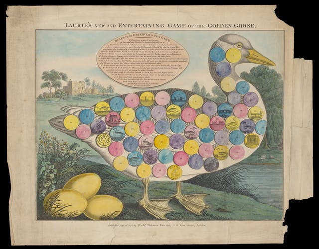 Photograph of a coloured engraving from 1848 depicting a large goose with three golden eggs. Numbered circles are printed on the body of the goose for playing the game of goose.