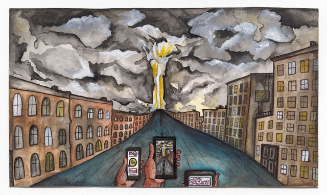"Watercolour and ink artwork. A street leads into an apocalyptic storm at the centre, with dark menacing clouds looming over the scene. In the foreground are three phone like devices recording the scene for social media. The left most device reads ""WARNING: COVID-19 LEAVES THE ATMOSPHERE!""."