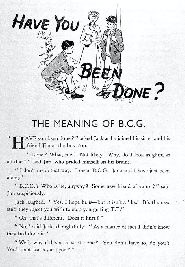 """Leaflet stating BCG is """"the new stuff they inject you with to stop you getting TB"""", 1930s."""