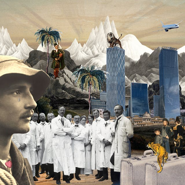Artwork using collage.  The collaged elements are made up archive material which includes, vintage photographs, etchings, painted illustrations, lithographic prints and line drawings. This artwork depicts a scene with an urban and rural combined background, where high snow covered mountain peaks rise in the distance. In the middle distance a Scottish piper stands on the hillside playing bagpipes, a lion stands on top of a cluster of large glass and metal skyscrapers and a tall ship in full sail crosses a section of ocean. In the foreground on the left is the head of a man who looks a little like an explorer with a rope over his shoulder and a hat on his head. A tear falls from his eye. Next to him stands a group of doctors all wearing white knee length lab coats. Next to them are a couple of suitcases over which a tiger is crawling. To the far right a group of french revolutionary soldiers surge forward with a tattered flag. In the sky is an aeroplane and the planet Earth.