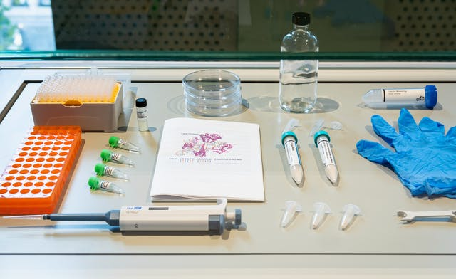 Photograph of the contents of an exhibition display case. The objects on display include a scientific pipet, petri dishes, latex gloves, specimen tubes and a jar.