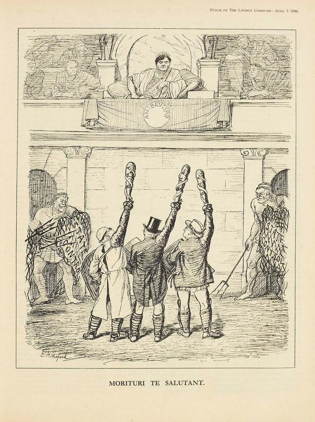 """A line-drawing cartoon depicting doctors as gladiators acknowledging defeat by Aneurin Bevan, who is depicted as a Roman emperor. The doctors raise clubs with snakes entwined around, the symbol of their profession, and guards wielding tridents stand either side of them bearing nets that say """"State control""""."""