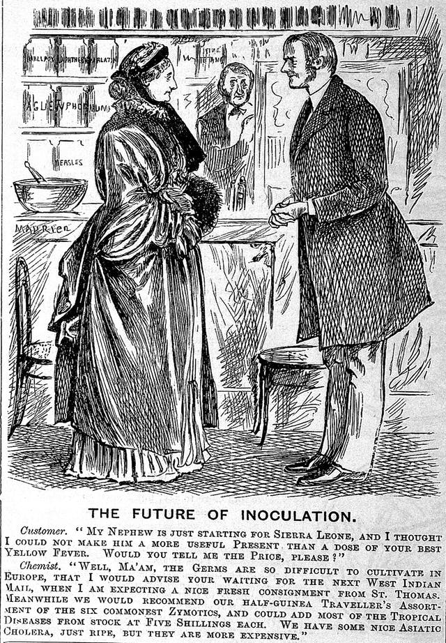 Image of monochrome ink sketch depicting a man and a woman at a shop
