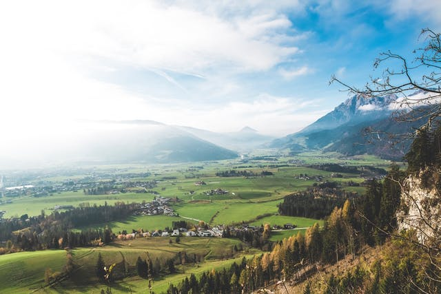 Photo of Austrian valley with blue sky