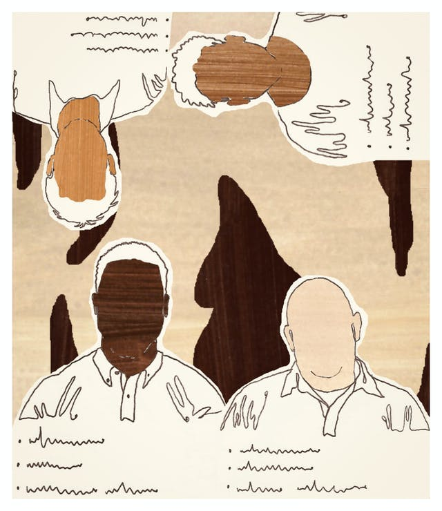 Digital artwork made up of collage elements, line drawing and textured patterns.The artwork depicts the outlines of 4 male figures with squiggly lines beneath them suggesting a bullet pointed list of text. Their faces have no features, but they are all different shapes and sizes and skin tones. 2 of the men are the right way up along the bottom edge of the frame. The other two are rotated against the right hand edge and top edge, upside-down.The tones of the artwork are creams, rusts and browns.