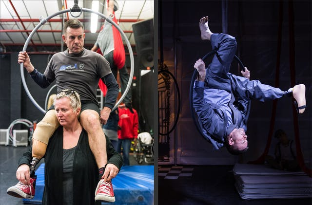 Photographic diptych. The image on the right shows a woman holding a man on her shoulders during a theatrical rehearsal.  The man has a prosthetic right leg and is partially holding onto a large metal hoop suspended from the ceiling. The image on the right shows a male performer in a suit performing an up-side down stunt through a metal hoop suspended from the ceiling of a theatrical stage.  Whilst suspended upside down, his prosthetic right leg is stretched out in front of him, as if completing a roll.