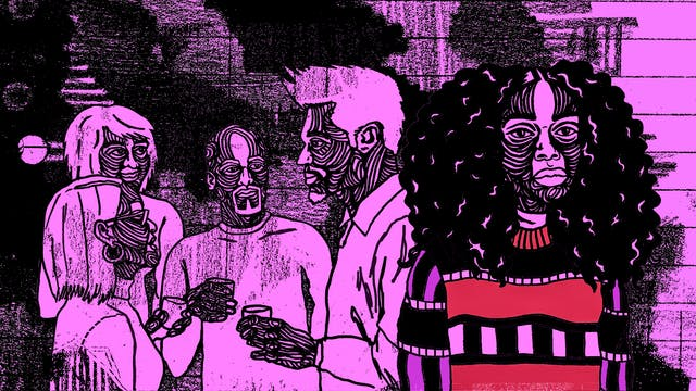 Illustration in black, purple and red tones, showing a woman standing to the right of frame look off into the distance. Behind her a group of 4 people are in close conversation. It looks like she is excluded.