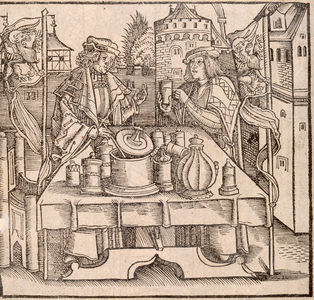 Manufacture of theriac, Print from Book for Distillation of Composite Things c1505