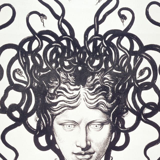 Black and white illustration of a woman with snakes for hair.