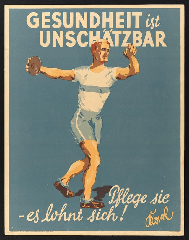 Colour poster with text in German: