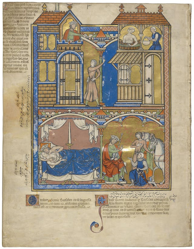 An illustrated manuscript with three panels, showing the biblical story of David and Bathsheba.