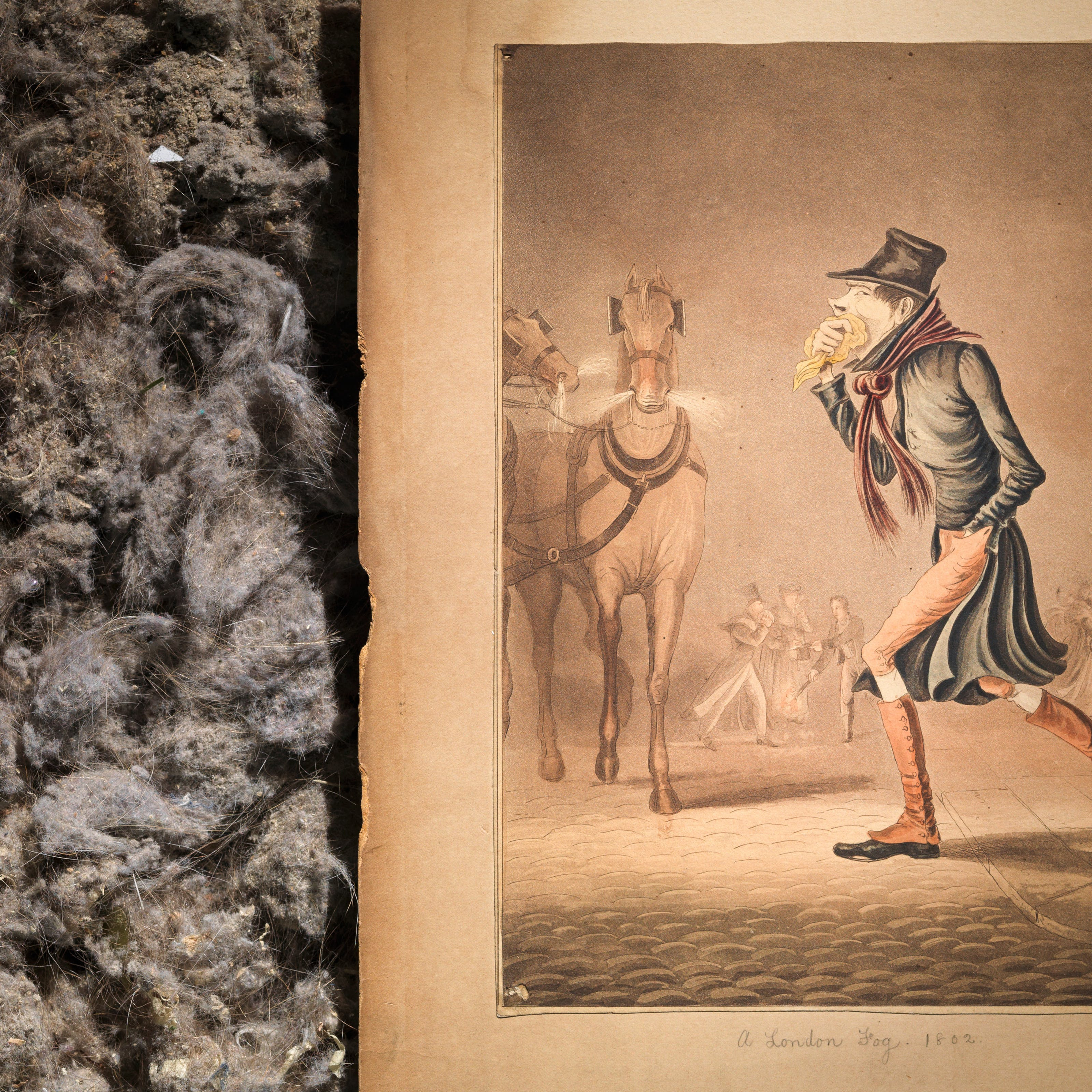 Photograph of part of a coloured aquatint of a man covering his mouth with a handkerchief, walking through a smoggy London street. In the background are two snorting horses and linkboys running about bearing burning torches. The other part of the photograph contains the dirt and dust from a vacuum cleaner bag.