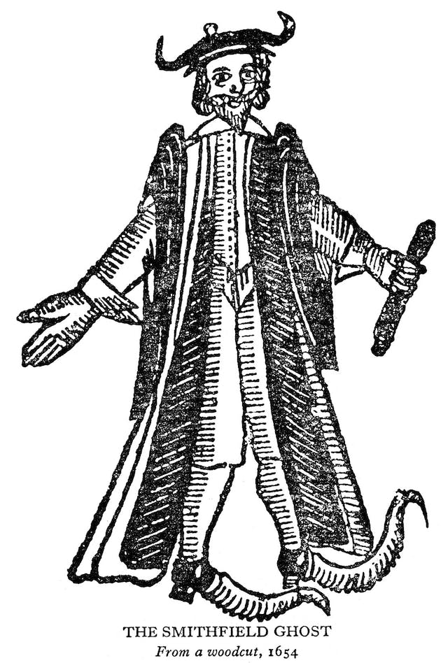Black and white illustration of a bearded man wearing a robe, hat and jester's boots.