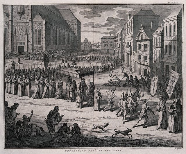 Monochrome etching of a procession through a town