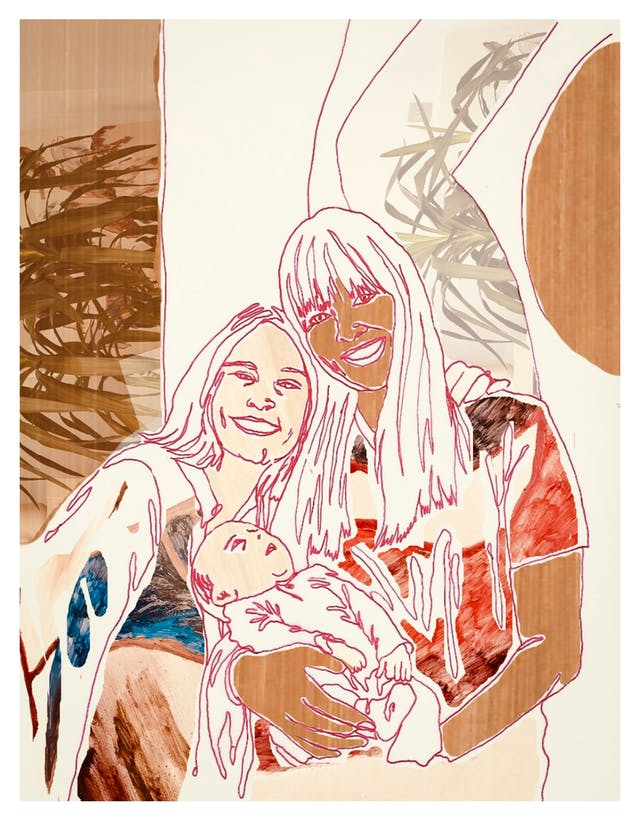 Digital artwork made up of collage elements, line drawing and textured patterns. The artwork depicts a family unit made up of two women leaning in together their heads touching, smiling and looking out at the viewer. In the arms of one of the women is a small baby who is gazing up at them both. The tones of the artwork are creams, rusts, browns and reds.