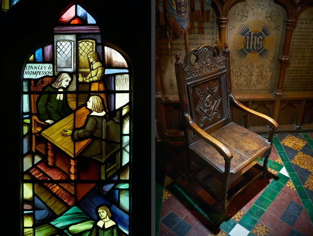 Photographic diptych showing on the left a modern stained glass windows in St Lawrence
